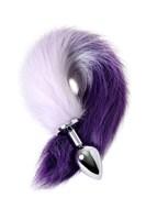 Серебристая металлическая анальная втулка с фиолетово-белым хвостом - размер M - фото 367314
