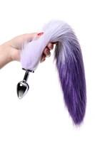 Серебристая металлическая анальная втулка с фиолетово-белым хвостом - размер M - фото 367315