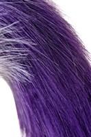Серебристая металлическая анальная втулка с фиолетово-белым хвостом - размер M - фото 367317