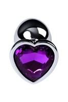 Серебристая коническая анальная пробка с фиолетовым кристаллом-сердечком - 7 см. - фото 1294916