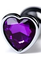 Серебристая коническая анальная пробка с фиолетовым кристаллом-сердечком - 7 см. - фото 1294920