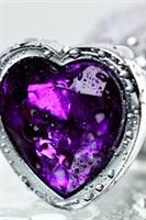Серебристая коническая анальная пробка с фиолетовым кристаллом - 7 см. - фото 1299487