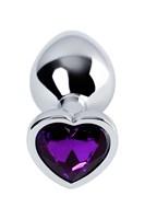 Серебристая коническая анальная пробка с фиолетовым кристаллом - 7 см. - фото 1299480