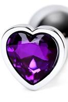 Серебристая коническая анальная пробка с фиолетовым кристаллом - 7 см. - фото 1299484