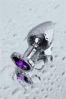 Серебристая коническая анальная пробка с фиолетовым кристаллом - 7 см. - фото 1299486