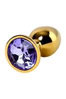 Золотистая коническая анальная пробка с фиолетовым кристаллом - 7 см. - фото 55653
