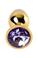 Золотистая коническая анальная пробка с фиолетовым кристаллом - 7 см. - фото 55654