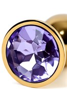 Золотистая коническая анальная пробка с фиолетовым кристаллом - 7 см. - фото 55657