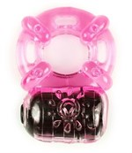 Розовое эрекционное кольцо c вибропулей - фото 1295422