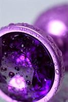 Фиолетовый анальный плаг с кристаллом фиолетового цвета - 7,2 см. - фото 1296311