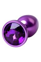 Фиолетовый анальный плаг с кристаллом фиолетового цвета - 7,2 см. - фото 1296305