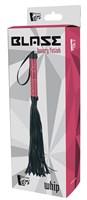 Черная мини-плеть WHIP с розовой ручкой - 39 см. - фото 1304377
