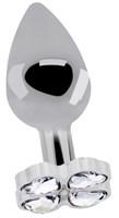 Серебристая анальная пробка с прозрачными кристаллами в форме клевера - 9,5 см. - фото 366028