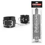 Черные наручники с металлическими застежками и цепочкой - фото 383192