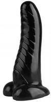 Черная изогнутая рельефная анальная втулка - 23,5 см. - фото 374533