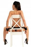 Черные наручники с креплением к стулу - фото 177309