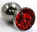 Серебристая гладкая анальная пробка с красным кристаллом - 7 см. - фото 70148