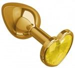 Золотистая анальная втулка с желтым кристаллом-сердечком - 7 см. - фото 82308