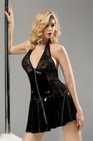 Черное лаковое платье на молнии Harlow - фото 98088