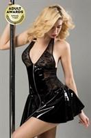 Черное лаковое платье на молнии Harlow - фото 98086