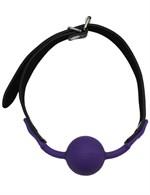 Фиолетовый силиконовый кляп-шарик на ремешках - фото 100016