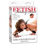 Набор для бондажа Collar with Cuffs and Leash - фото 452119