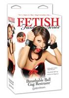 Кляп-наручники с красным шариком Breathable Ball Gag Restraint - фото 210888