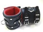 Широкие подвёрнутые наручники с красным подкладом - фото 1147035