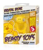 Жёлтое виброкольцо на пенис Brutal Bear - фото 1147144