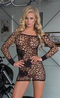 Очаровательное платье-сетка с узором в виде сердечек - фото 1147211