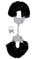 Металлические наручники с чёрным мехом  - фото 1515705