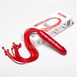 Красная многохвостая плеть с рукоятью-фаллосом - 50 см. - фото 136720