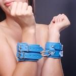 Голубые наручники на мягкой подкладке - фото 11770