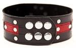 Чёрно-красный ошейник с клёпками - фото 1652261