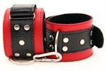Красно-чёрные кожаные наручники - фото 11281