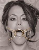 Золотистый расширитель для рта Gold Deluxe Spider Gag - фото 1148843