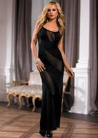 Длинное платье с диагональными прозрачными полосами  - фото 244426