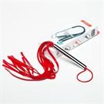 Красная резиновая плеть с металлической рукоятью - 55 см. - фото 137768