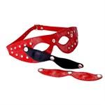 Красная кожаная маска со съёмными шорами - фото 1653178