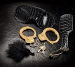 Набор Beginners Fantasy Kit из наручников, пуховки, маски и шлепалки - фото 1149043