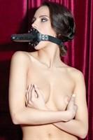 Чёрный кляп-фаллос на кожаных ремешках - фото 137837