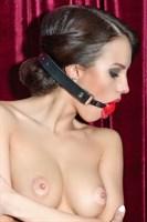 Красный пластиковый кляп-шар на чёрных кожаных ремешках - фото 137847