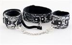 Кружевной набор серебристого цвета: ошейник и наручники - фото 213029