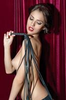 Чёрная многохвостая кожаная плеть  - фото 12958