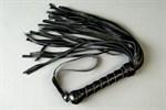 Чёрный кожаный флоггер с витой ручкой - фото 11673