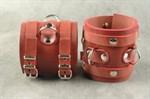Широкие красные не подшитые наручники - фото 1517969