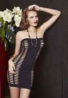 Облегающее платье без бретелей с ячейками - фото 530134