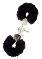 Металлические наручники с чёрной меховой опушкой - фото 1149606