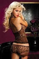 Леопардовый легкий пижамный комплект - фото 12128