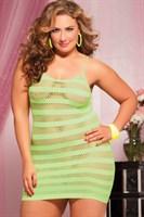 Сексуальное облегающее платье-сетка в полоску - фото 12193